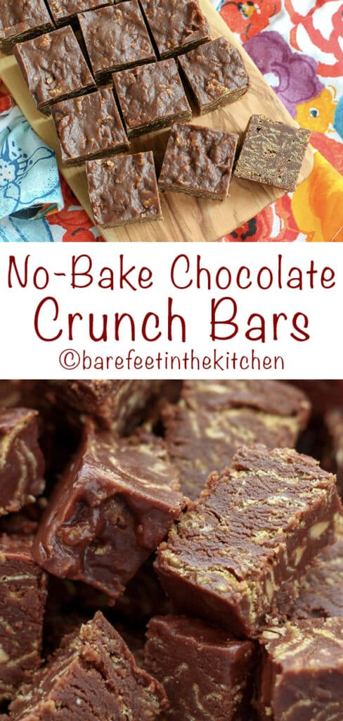 No Bake Chocolate Crunch Bars - get the recipe at barefeetinthekitchen.com