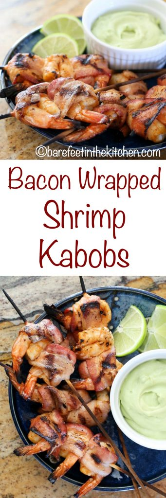 Bacon Wrapped Chipotle Shrimp Kabobs are a favorite for all ages! get the recipe at barefeetinthekitchen.com