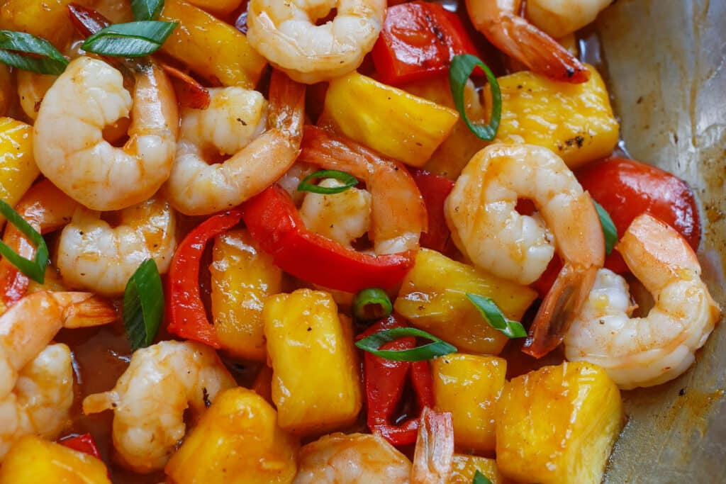 Pineapple BBQ Shrimp - get the recipe at barefeetinthekitchen.com