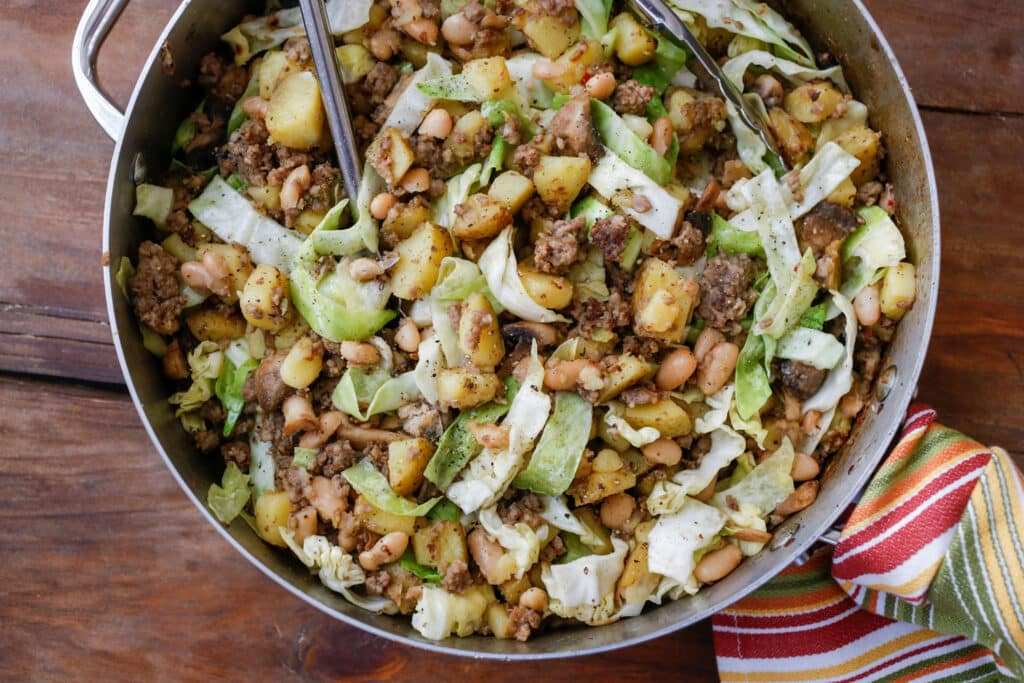 Sausage Hash with Cabbage, Potatoes, and Beans - get the recipe at barefeetinthekitchen.com