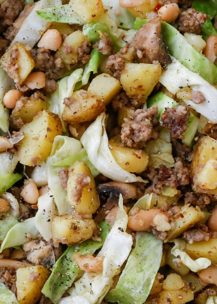Sausage Hash is perfect for breakfast or for dinner! get the recipe at barefeetinthekitchen.com