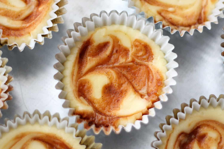 Caramel Swirl Cheesecake Cupcakes