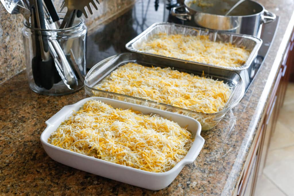 {Make Ahead} Cheesy Chicken and White Bean Enchiladas | get the recipe at barefeetinthekitchen.com