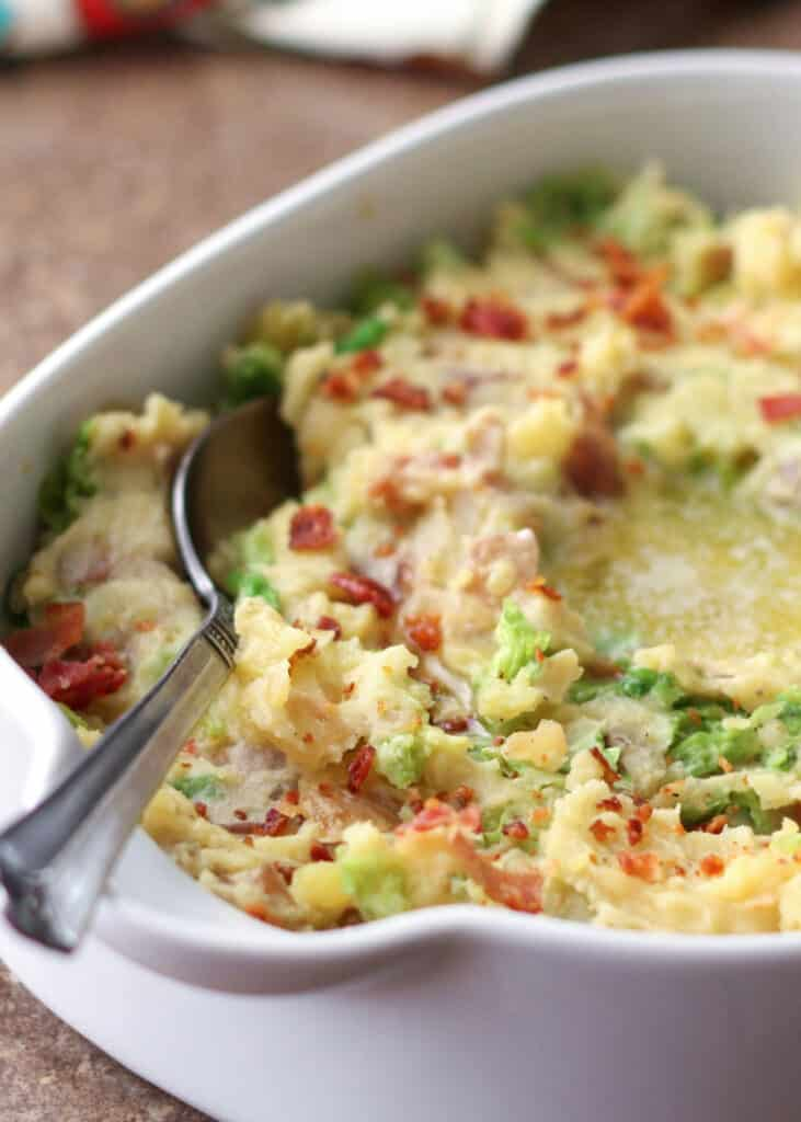 Irish Colcannon - mashed potatoes with bacon and cabbage | get the recipe at barefeetinthekitchen.com