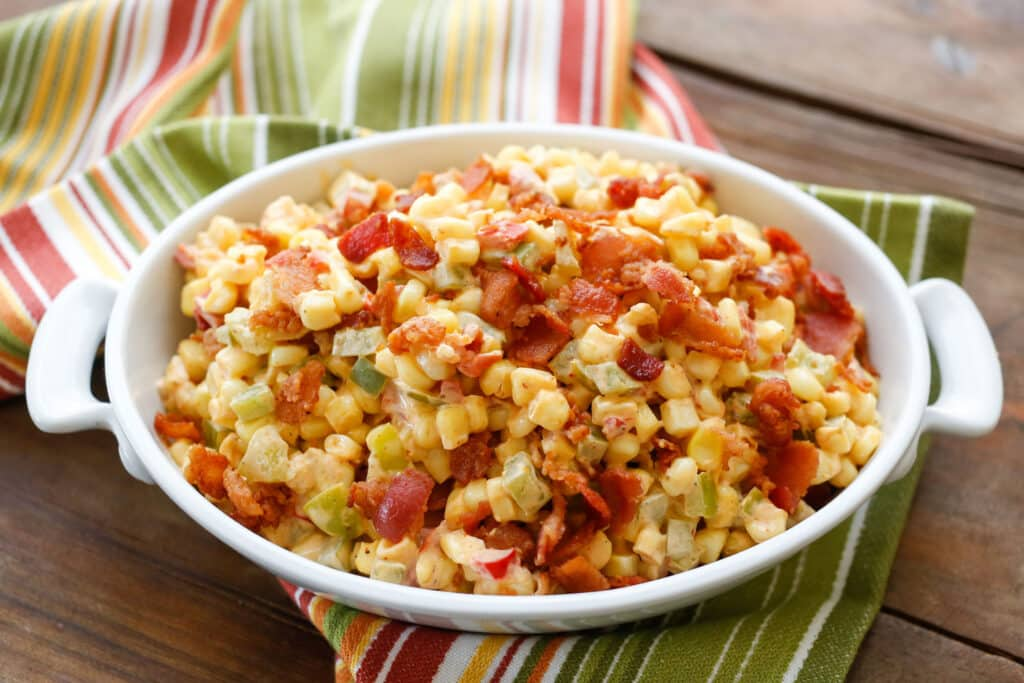 Creamed Corn with Peppers and Bacon | get the recipe at barefeetinthekitchen.com