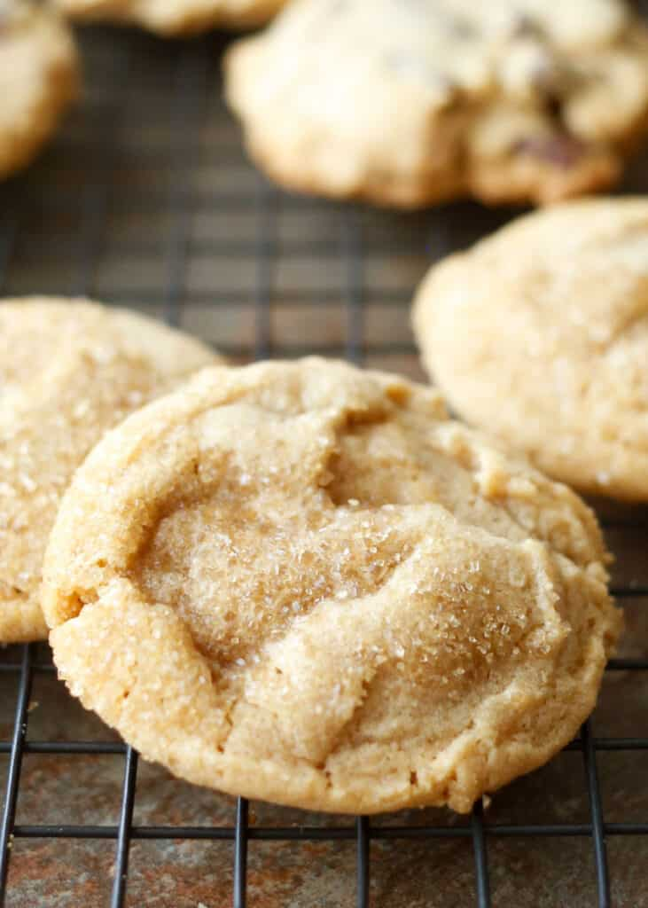 Crisp, Chewy, Peanut Butter Cookies - get the recipe at barefeetinthekitchen.com
