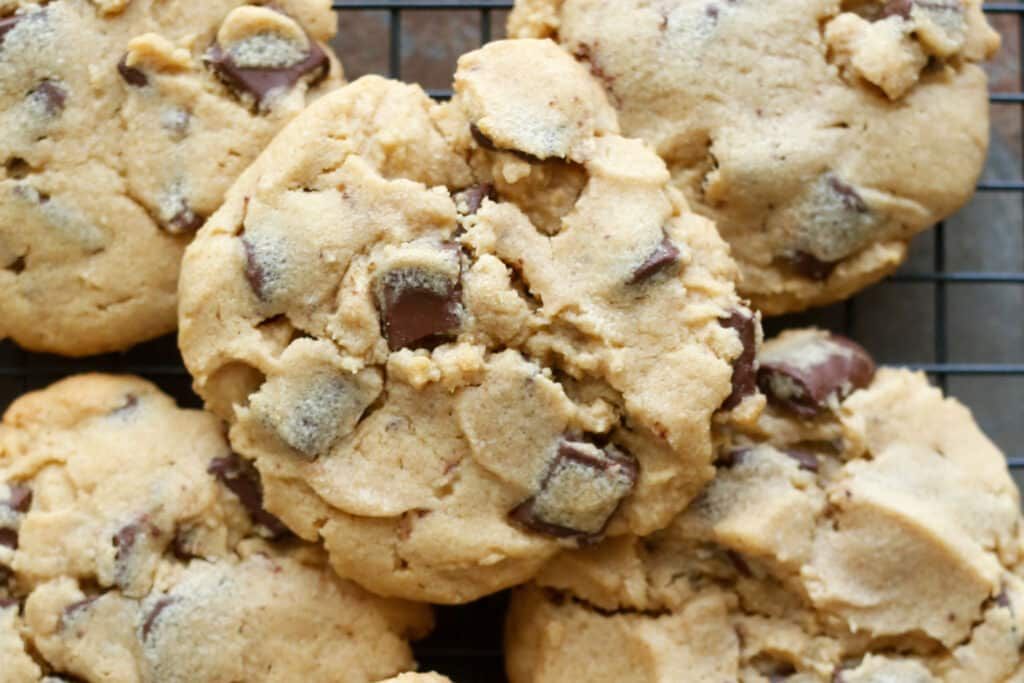 Crisp, Chewy, Peanut Butter Chocolate Chunk Cookies {traditional and gluten free recipes included}