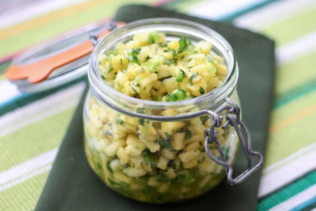 The BEST Pineapple Salsa - get the recipe at barefeetinthekitchen.com