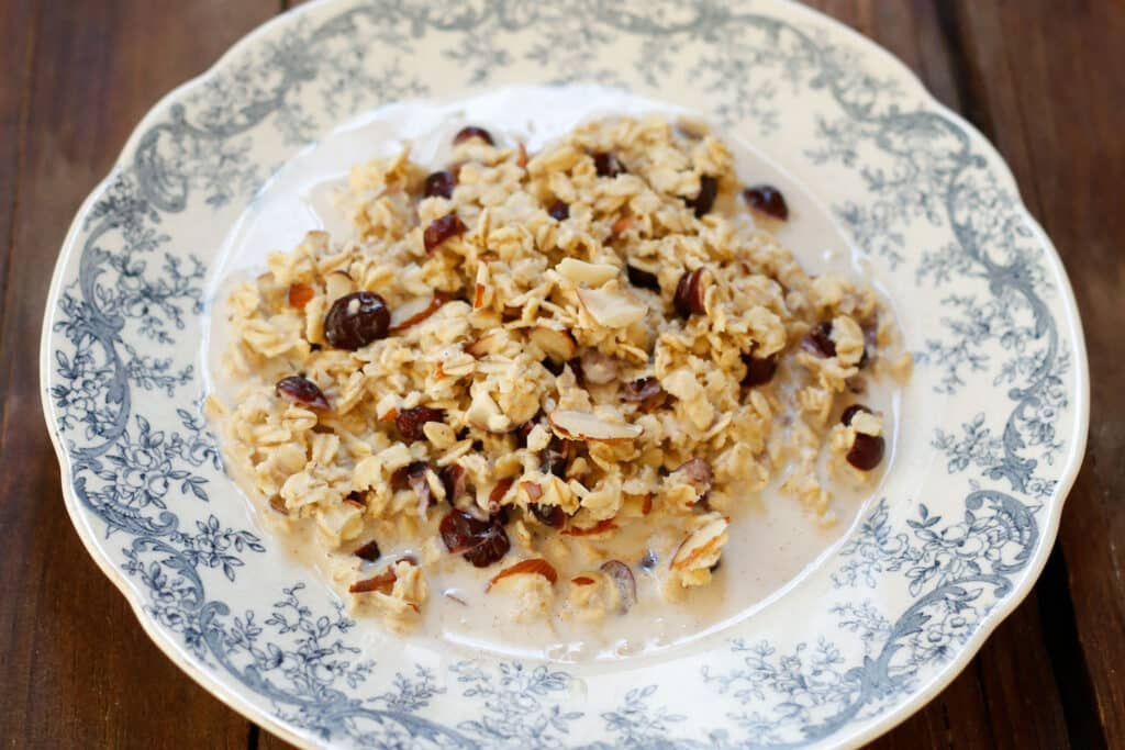 Slow Cooker Cranberry Almond Oatmeal - get the recipe at barefeetinthekitchen.com