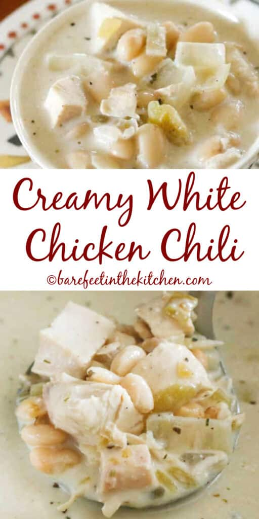 This Creamy White Chicken Chili recipe can be made three different ways! get the full directions at barefeetinthekitchen.com