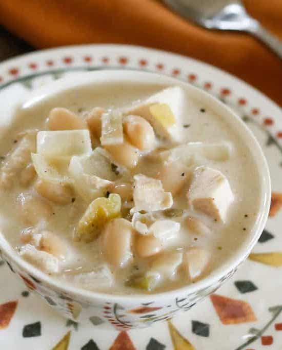 White Chicken Chili is a favorite all year long - get the recipe at barefeetinthekitchen.com