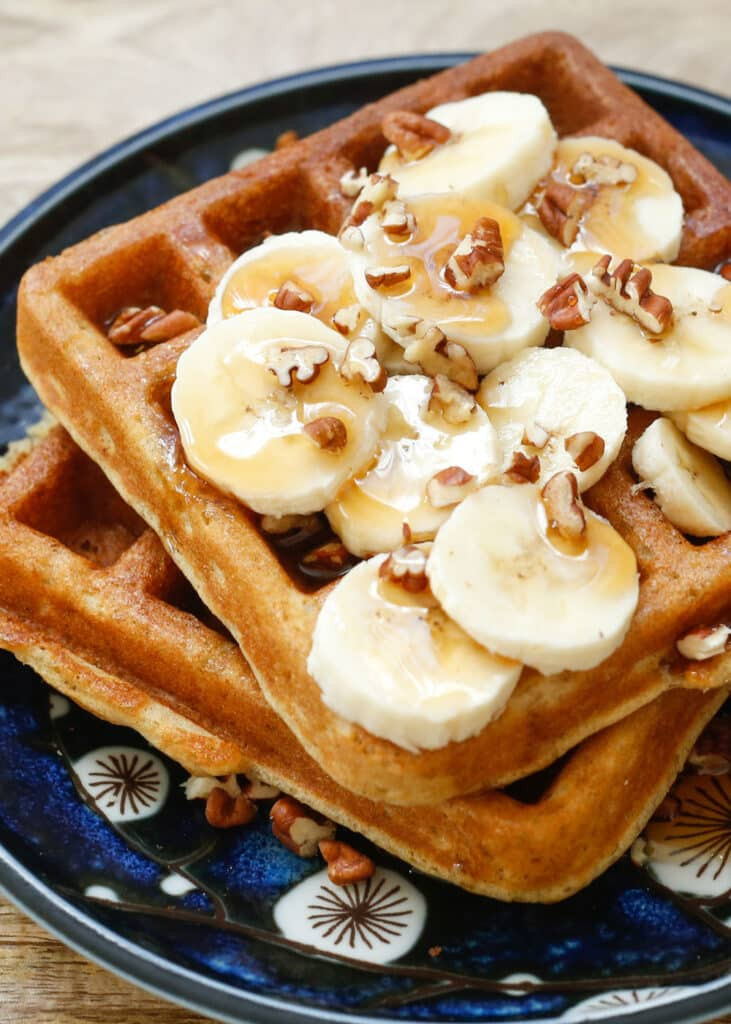 Banana Waffles are crisp, light, and fluffy! (traditional and gluten ...