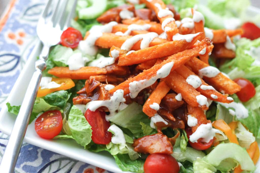 BBQ Chicken Salad with Sweet Potato Fries - get the recipe at barefeetinthekitchen.com