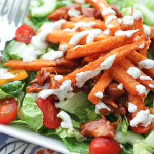 BBQ Chicken Salad with Sweet Potato Fries