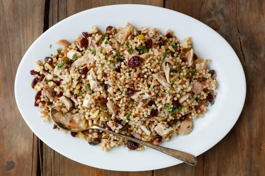 Lemon Couscous with Craisins and Chicken - get the recipe at barefeetinthekitchen.com