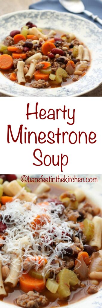 Hearty Minestrone Soup is a hit with everyone! get the recipe at barefeetinthekitchen.com