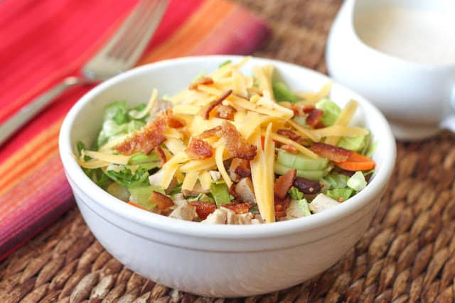 Chopped Salad with Bacon Chipotle Ranch Dressing - get the recipe at barefeetinthekitchen.com