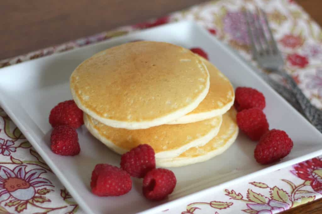 Light and Fluffy Gluten Free Pancakes - get the recipe at barefeetinthekitchen.com