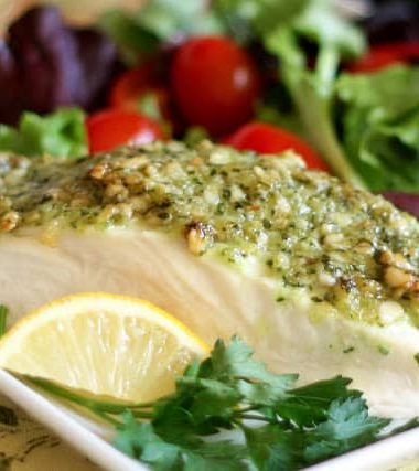 Halibut with a Pine Nut Crust