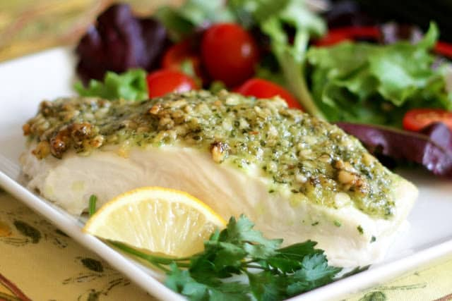 Baked Halibut with a Pine Nut, Parmesan, and Pesto Crust - get the recipe at barefeetinthekitchen.com