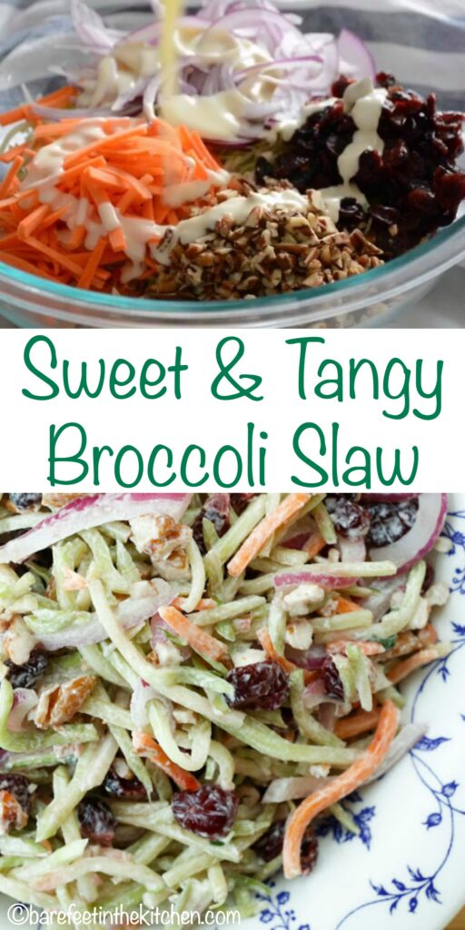 Sweet & Tangy Broccoli Slaw - get the recipe at barefeetinthekitchen.com