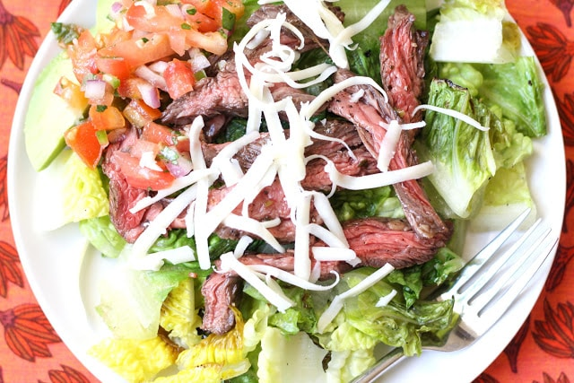 Carne Asada Steak Salad - get the recipe at barefeetinthekitchen.com
