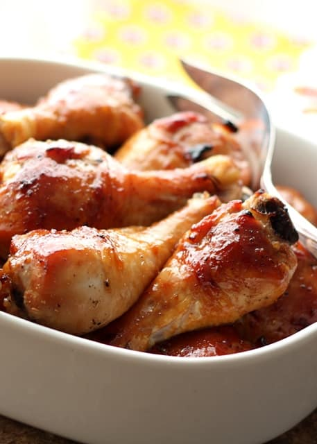 Honey Soy Chicken requires just a few minutes prep time and the result is a sweet glazed oven-roasted chicken that is incredibly tender! get the recipe at barefeetinthekitchen.com