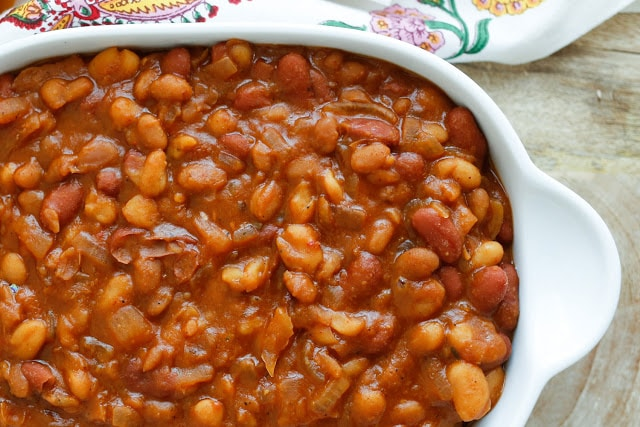 Slow Cooker Mexican Baked Beans - get the recipe at barefeetinthekitchen.com