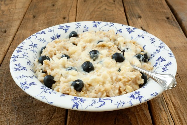 Blueberry Cheesecake Oatmeal - get the recipe at barefeetinthekitchen.com
