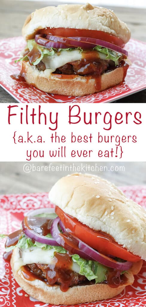 Pulled Pork + Ground Beef + Bacon add up to Filthy Burgers {aka the BEST burgers you will ever eat!}