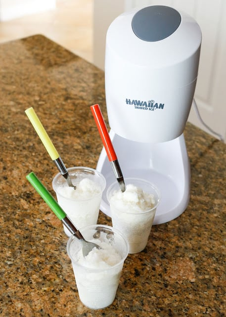 Sweet Cream Shaved Ice Recipe & A Summer Giveaway - ENTER TO WIN a shaved ice machine at barefeetinthekitchen.com