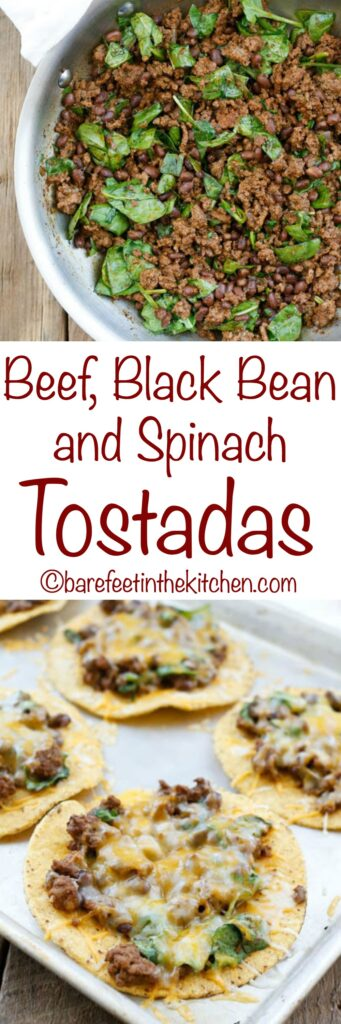 Beef, Black Bean, and Spinach Tostadas are a lightning fast dinner that everyone loves! get the recipe at barefeetinthekitchen.com