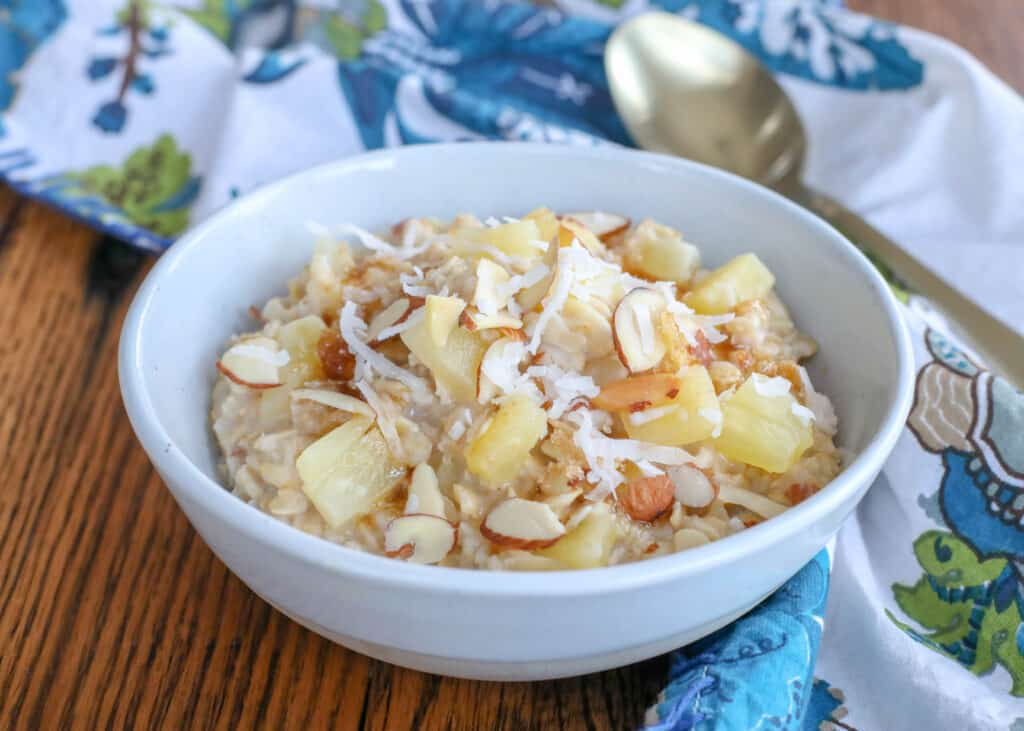 Hawaiian Oatmeal with pineapple, coconut, and almonds is a kid favorite!