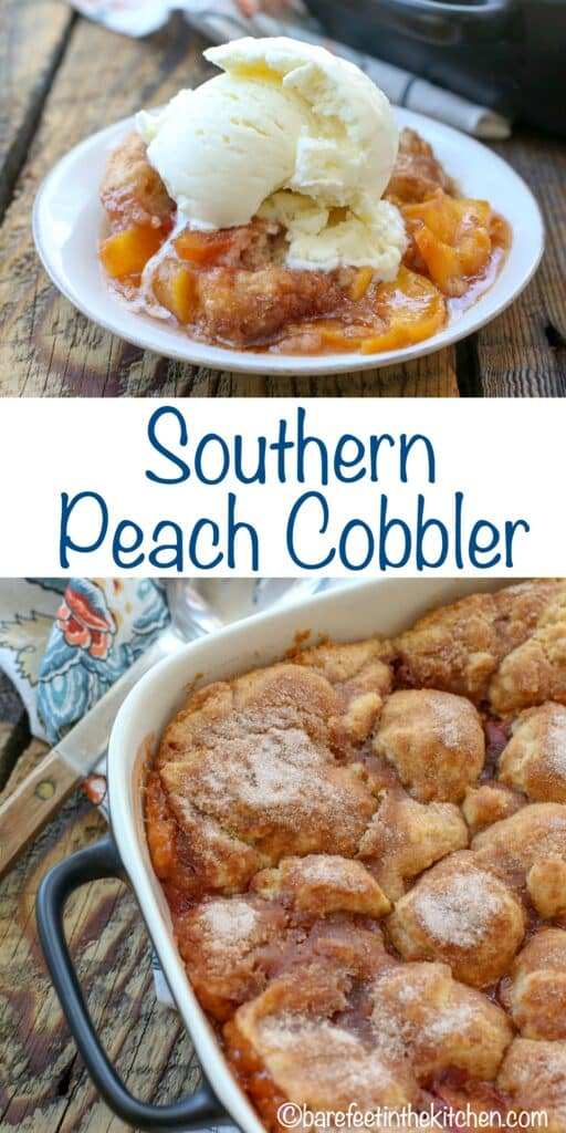 The Best Southern Peach Cobbler - get the recipe at barefeetinthekitchen.com