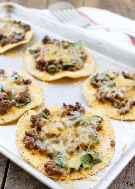 Beef, Black Bean, and Spinach Tostadas {Barefeet in the Kitchen}