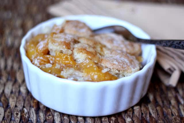 Southern Peach Cobbler - get the recipe at barefeetinthekitchen.com