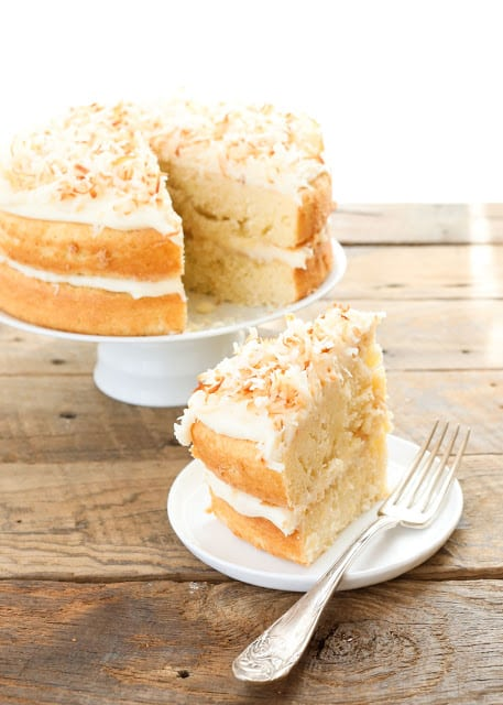 Pineapple Cake with Coconut Cream Cheese Frosting - traditional and gluten-free versions included - get the recipe at barefeetinthekitchen.com