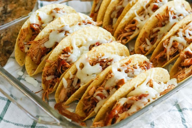 Crunchy Pulled Pork Tacos - get the recipe at barefeetinthekitchen.com