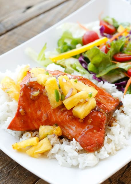 Teriyaki Glazed Salmon topped with Pineapple Jalapeño Salsa - get the recipe at barefeetinthekitchen.com