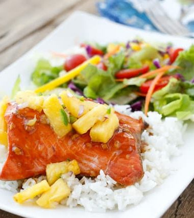 Teriyaki Glazed Salmon with Pineapple Salsa