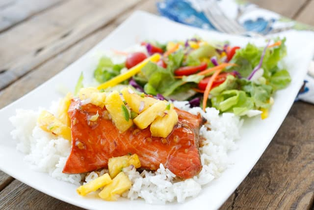 Teriyaki Glazed Salmon with Pineapple Salsa - get the recipe at barefeetinthekitchen.com
