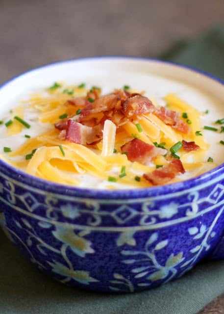 Baked Potato Soup {directions included for stove-top and crock-pot!} - get the recipe at barefeetinthekitchen.com