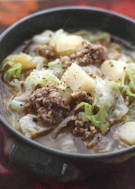 {15 Minute} Cabbage, Potato, and Sausage Soup - get the recipe at barefeetinthekitchen.com
