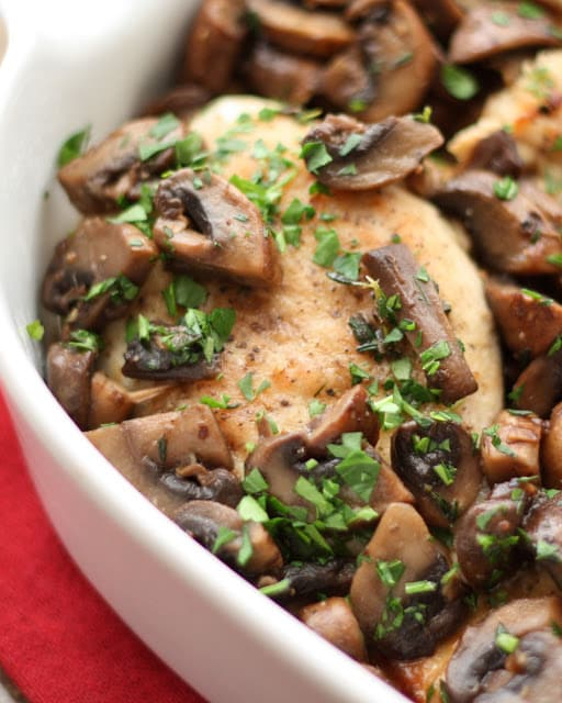 Chicken with Mushrooms and Thyme - get the recipe at barefeetinthekitchen.com
