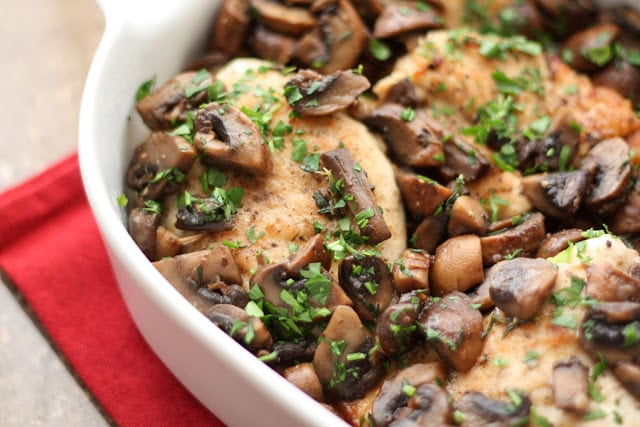 Chicken with Mushrooms is a great weeknight or any night meal! get the recipe at barefeetinthekitchen.com