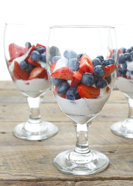 Cinnamon Yogurt Sauce with Fresh Berries is a deliciously healthy dessert! - get the recipe at barefeetinthekitchen.com