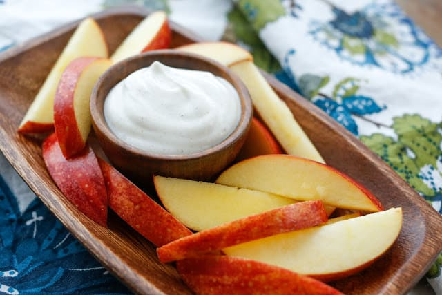 Cinnamon Yogurt Dipping Sauce with Apples - get the recipe at barefeetinthekitchen.com