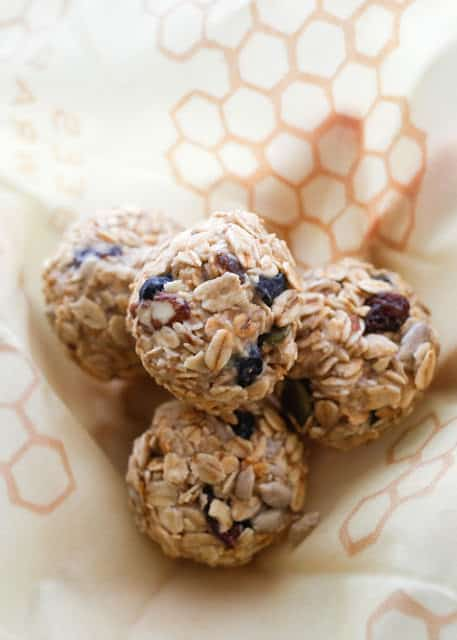 Chewy, Crunchy, Buttery, Blueberry Muesli Bites - get the recipe at barefeetinthekitchen.com
