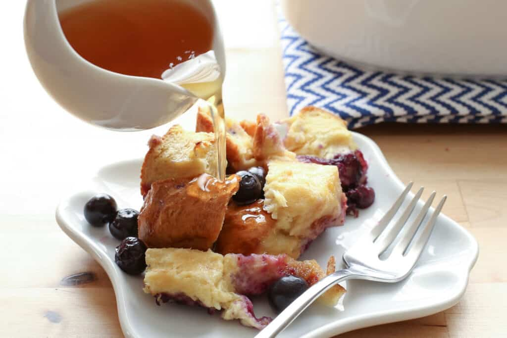Blueberry Lemon Baked French Toast with Warm Lemon Maple Syrup recipe by Barefeet In The Kitchen