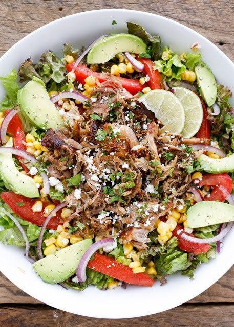 Street Tacos meet the BIG GREEN SALAD in this Carnitas Salad Bowl! get the recipe at barefeetinthekitchen.com